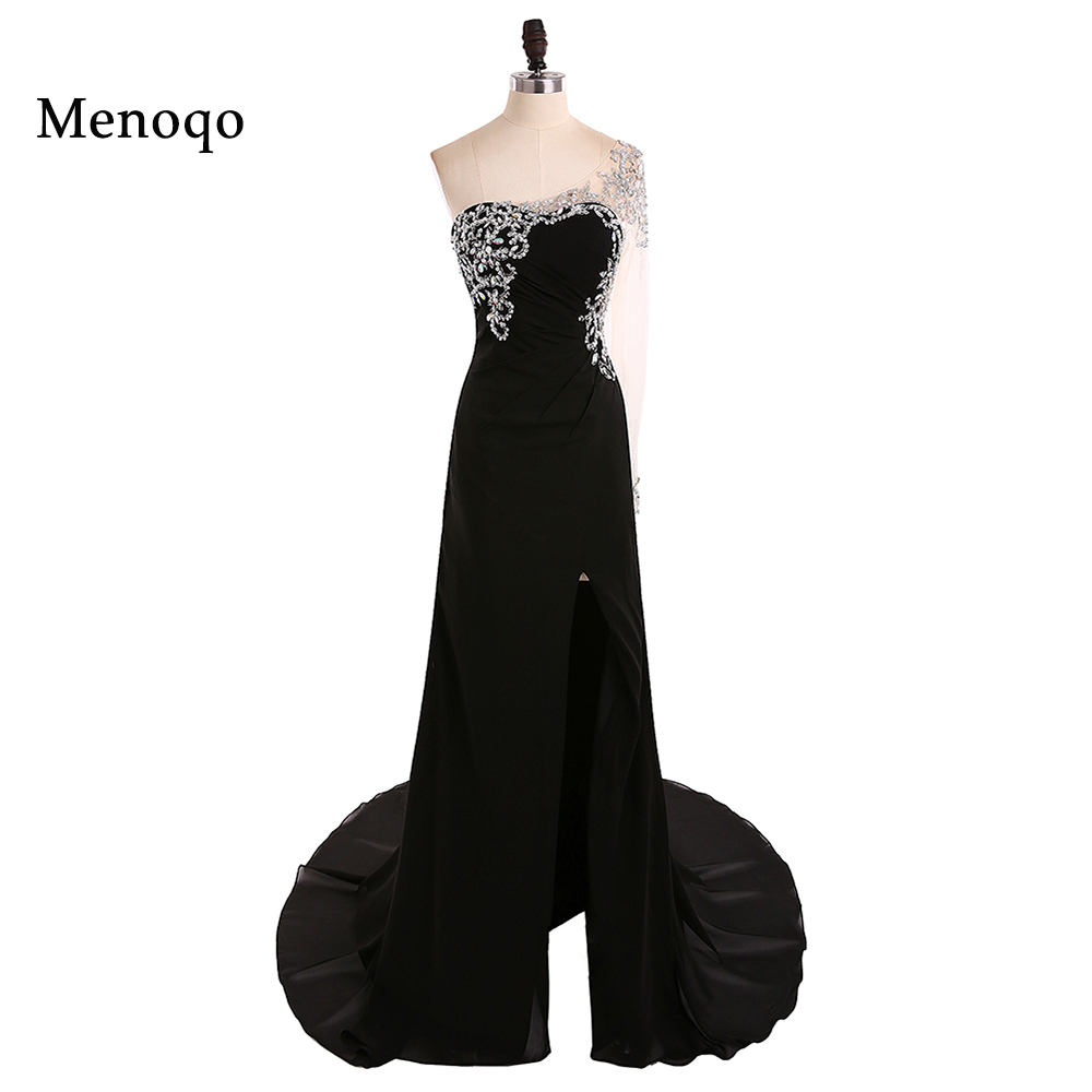 1192W Sexy Sparkly Crystal Beaded One Long Sleeve Front Slit Prom Dresses 2018 Black Chiffon Mermaid