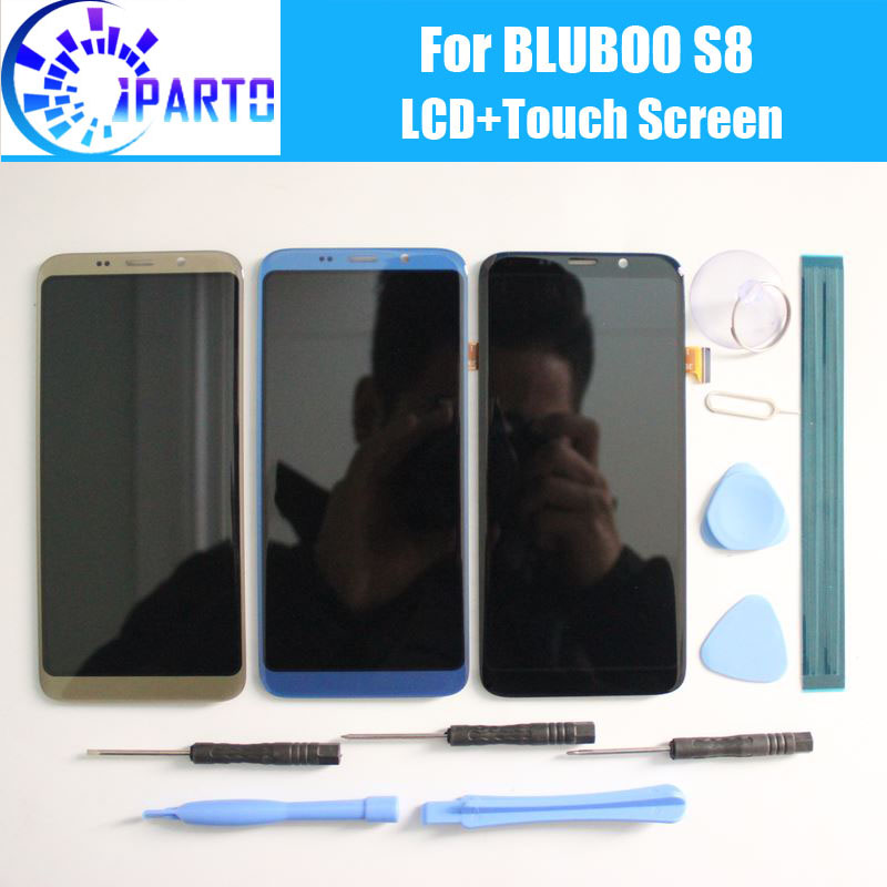 BLUBOO S8 LCD Display + Touchscreen 100% Original LCD Digitizer Glasscheibe Ersatz Für BLUBOO S8 5,7 zoll + werkzeuge + adhesive