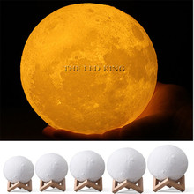 Novelty Rechargeable 3D Print Moon lamp 2 Colors Touch Switch Change LED Bed Desk Moon Night light Home Decoration Creative Gift(China)