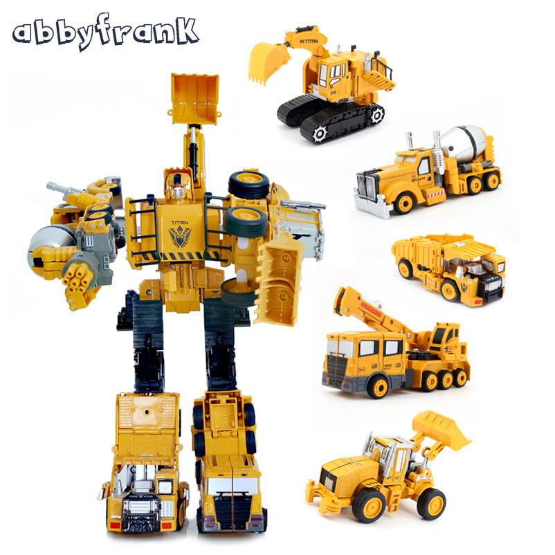 Abbyfrank Engineering Transportation <font><b>Car</b></font> 5 In <font><b>1</b></font> Deformation Kit Metal Alloy Construction Vehicle Truck <font><b>Model</b></font> Toy Gifts Oyuncak image