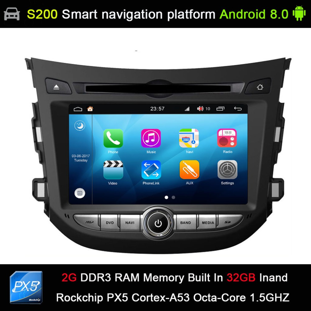 Système automatique Android 8.0 PX5 Octa 8-Core CPU 2G Ram 32 GB Rom voiture DVD Radio GPS Navigation pour Hyundai HB20 2012-2015