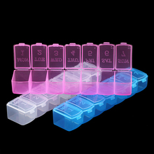 JHNBY Plastic Rectangle 7 days week Pillbox home Compartment Storage Box Earring Jewelry Beads Case Container Display Organizer