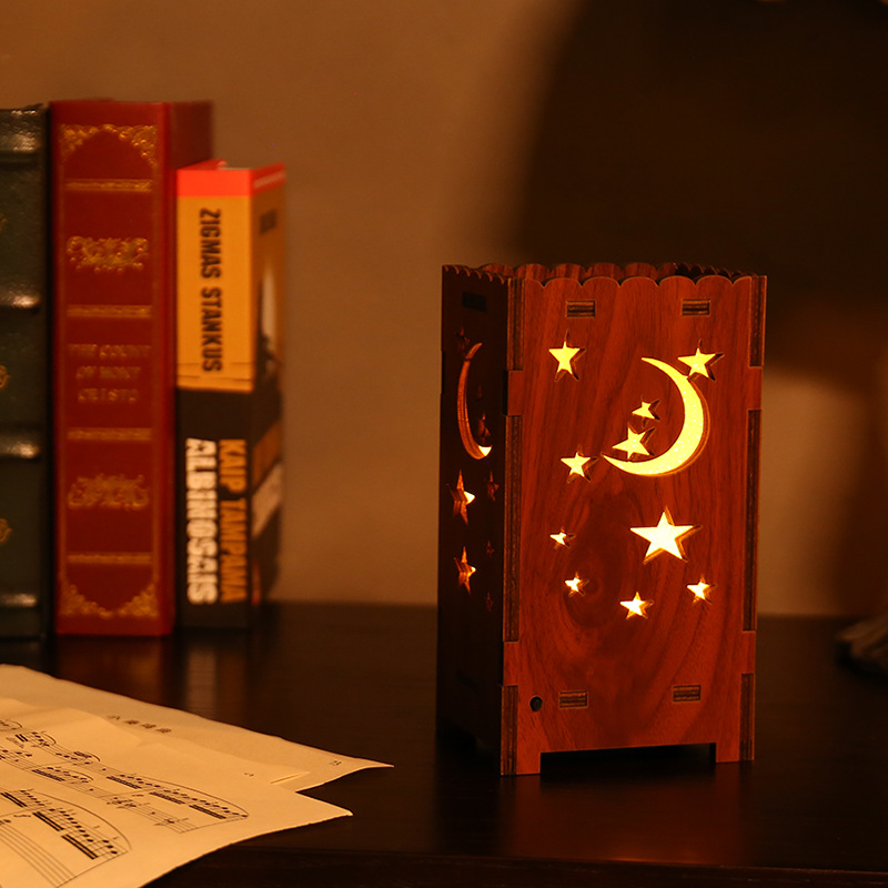 LED Lucky Star Projector Starry Sky Star Hollow Romantic Colorful Moon Stars Children Sleep Projection Lamp Bedside Lamp Gift