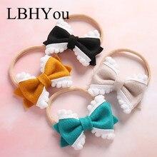1pcs Handmade Flock Fabric Bows Nylon Headbands ,Soft Stretchy Hairbands,Newborn Knot Elastic Head Bands Hair Wear