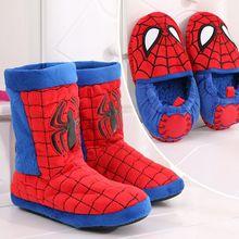 Плюшевые ботинки «Человек-паук» для маленьких мальчиков; детская зимняя противоскользящая домашняя обувь с супергероями; Детские теплые домашние тапочки с героями мультфильмов
