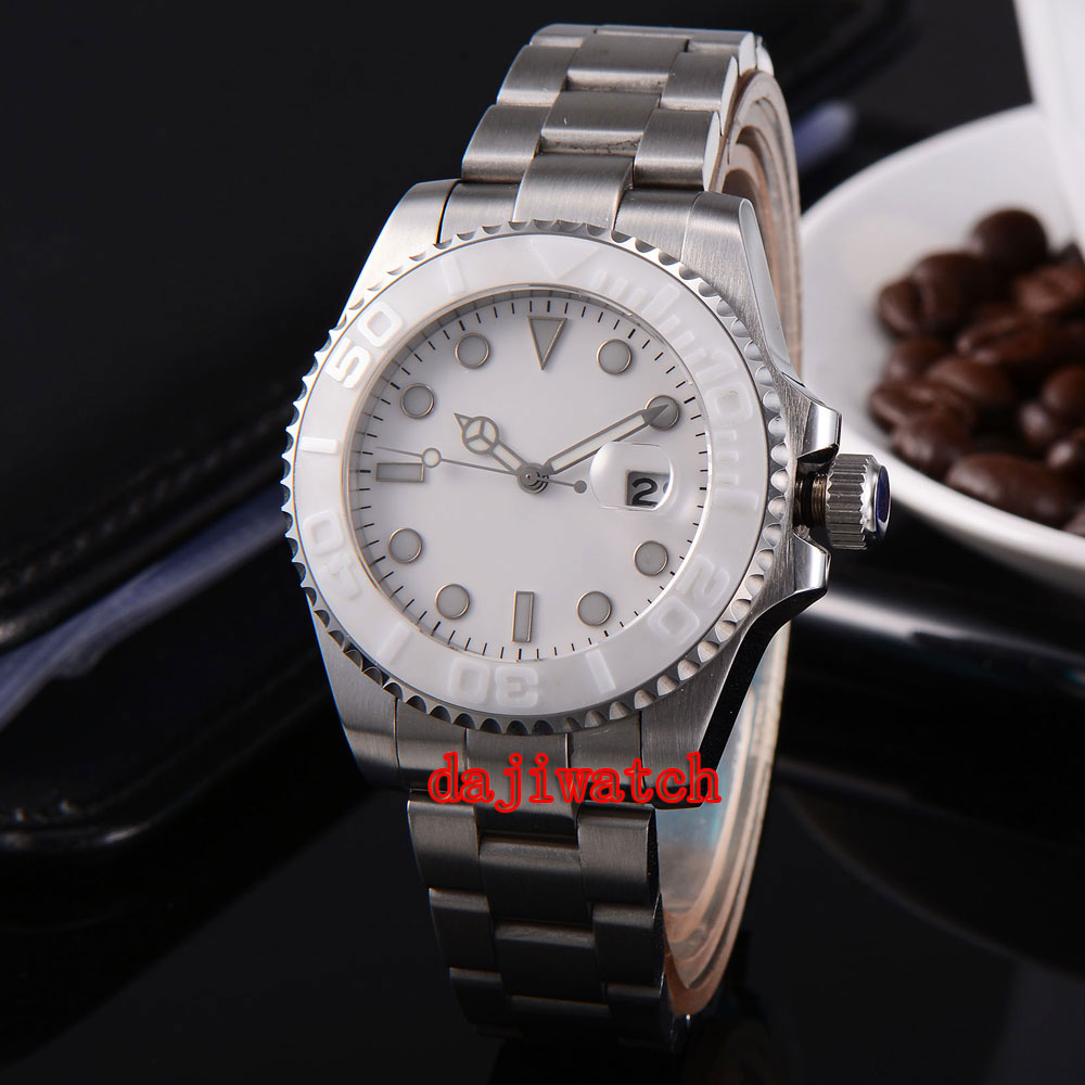 parnis 43mm white dial stainless steel case Sapphire glass calendar mechanical automatic watch men цена 2017