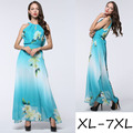 Vestidos Time-limited Bohemian Print None Plus Size Robe 2016 New Summer Fashion Ladies Temperament Code Printed Chiffon Dress