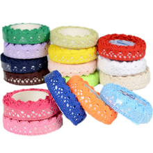 2PCS Tapes Adhesive Fabric cotton Lace Tape for DIY decoration Stationery Adhesive Tapes Gifts Holiday diy cotton nylon lace adhesive tape white
