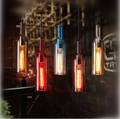5 Colors Vintage Glass Bottle Edison Pendant Lights Fixtures For Bar Home Living Hanging Lamp DropLight Suspension Luminaire loft industrial vintage pendant lights edison glass lampshade fixtures for bar home lightings hanging lamp suspension luminaire
