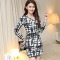 2016 New Fashion Autumn And Winter OL Style Round Neck Long Sleeve Slim Geometric Bottoming Women A-Line Dress