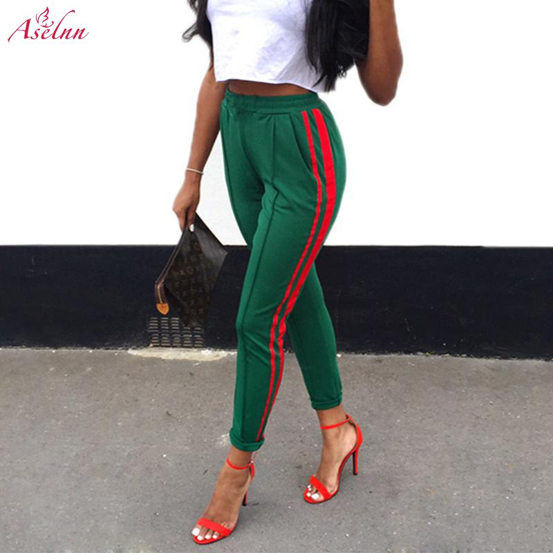 Aselnn 2019 Women Mid Waist Harem Pants Autumn Elastic Casual Female Workout Green Striped Sporting Trousers