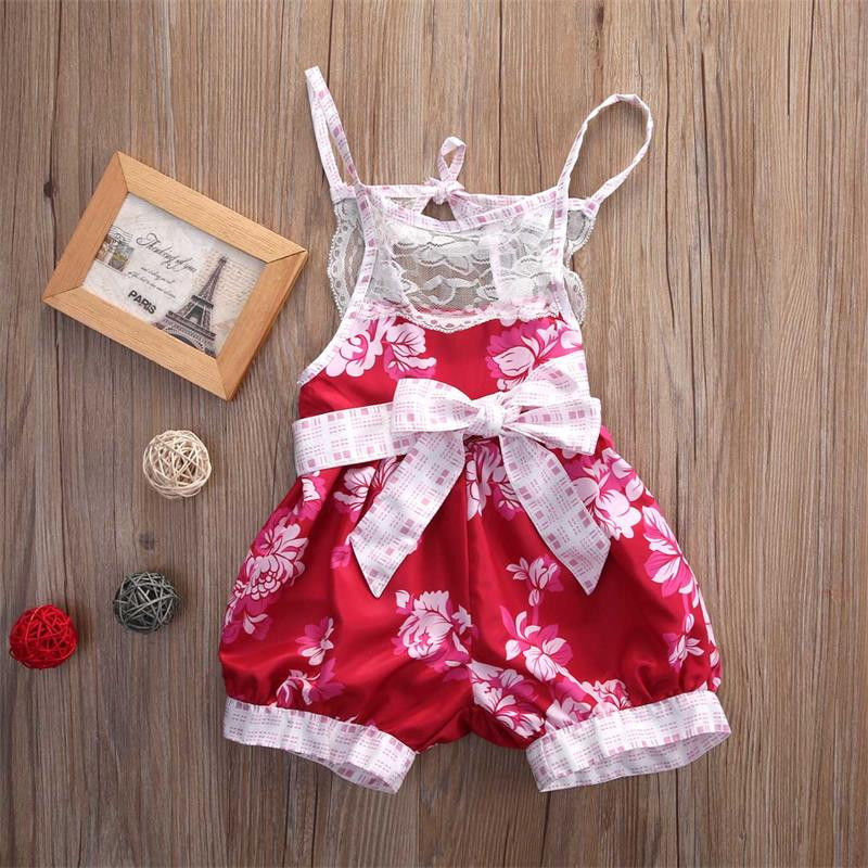 00acc587a17b Infant Kids Baby Girl Clothing Floral Romper Jumpsuit Strap Lace Bow ...