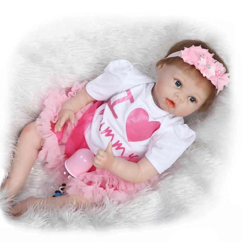 Brown Eyes 22 Inch Lifelike Reborn Baby Dolls Gentle Touch Princess Girl Babies Newborn Silicone Toy Kids Birthday Xmas Gift
