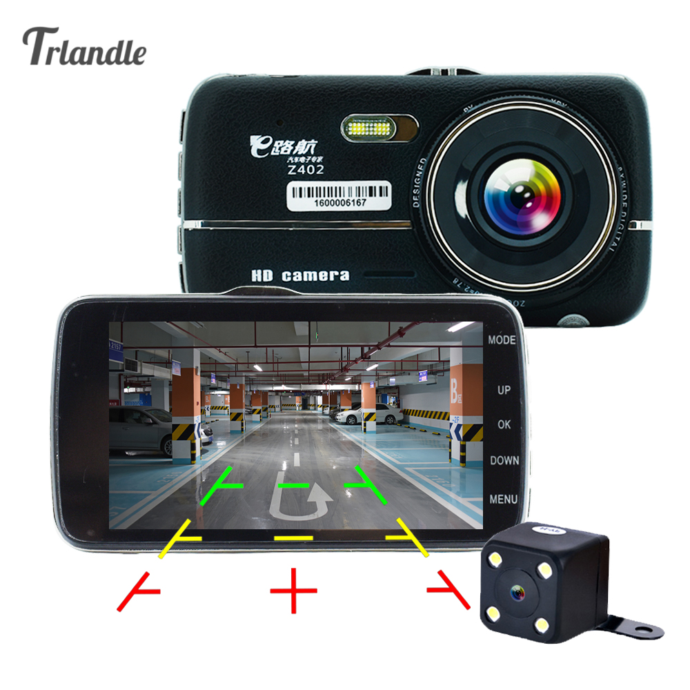 4.0 inch Car DVR Camera Dual Lens support Front car distance   warning dash camera with rear view camera Full HD 1080P camera dual car