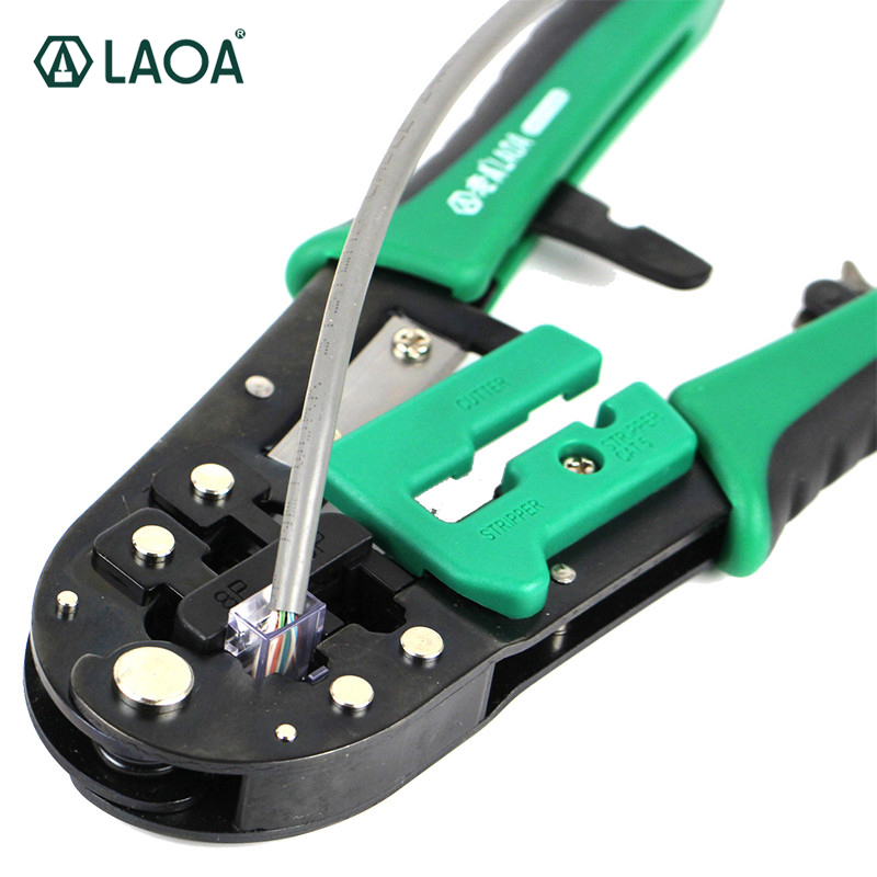 LAOA 6P/8P Ratchet Network Pliers Wire Cutter Crimping Tools Wire Cable Press Pliers Multools 6p 8p network crimping pliers ratchet portable cable wire stripper crimping pliers terminal tool multifunctional pliers cp 376d