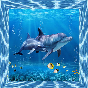 photo wallpaper silk cloth wallpaper Marine life dolphin backdrop modern decorative painting 3d large mural wallpaper scuba dive light