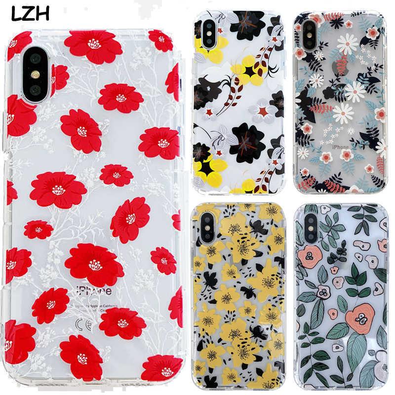 Relief fleur rouge clair coque de téléphone pour Apple iPhone X 6 6 S 7 8 Plus XS XR XS Max souple TPU caoutchouc luxe Floral Girly couverture Shell