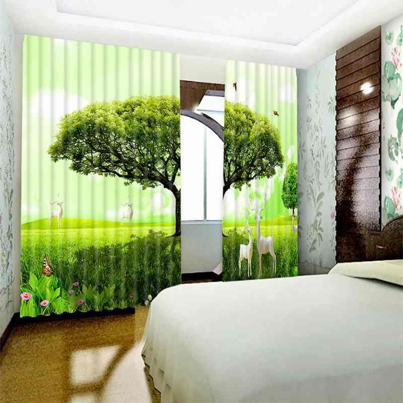 1 Set Blackout Vorhang Grün Baum Deer Bild 3D Druck Fenster Vorhänge Vorhänge Für Wohnzimmer Bett Zimmer Hotel Wandteppich - 3