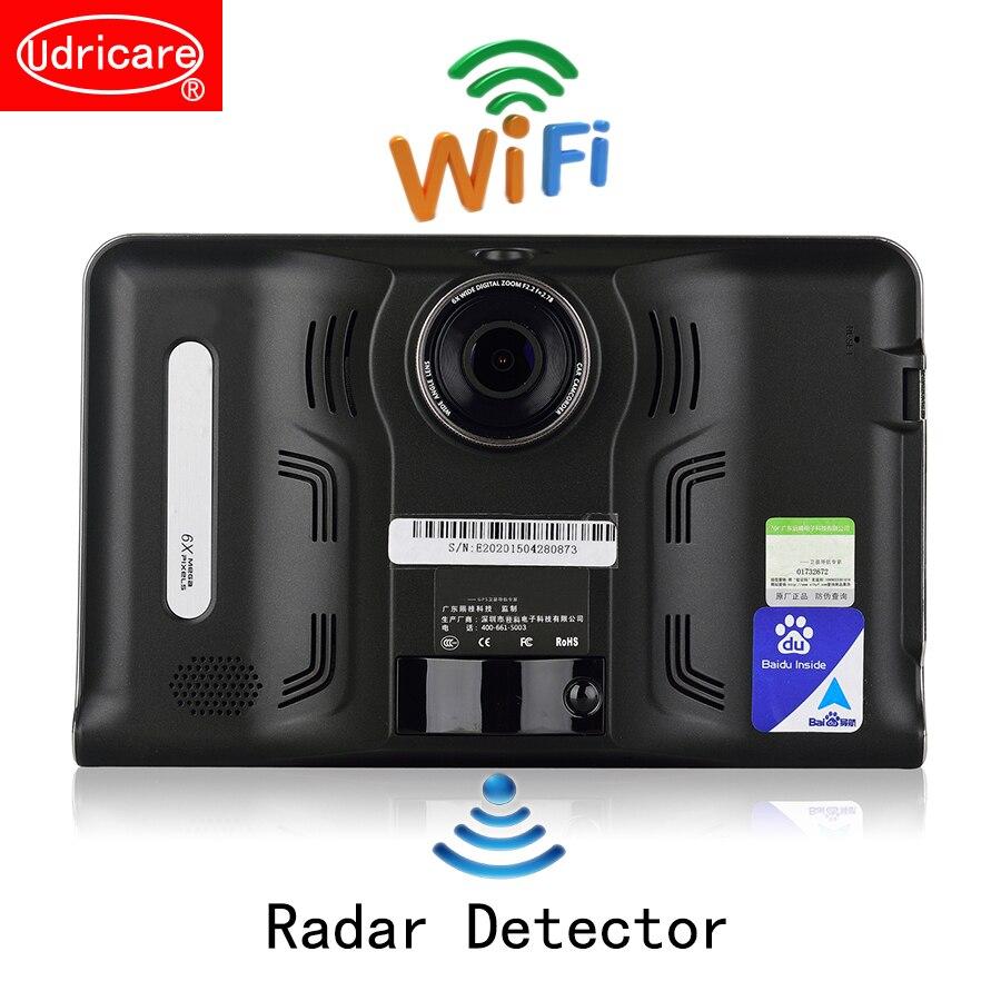 Udricare 7 pollici di Navigazione GPS Android GPS DVR Videocamera 16 GB Allwinner A33 Quad Core 4 Cpu Rivelatore Del Radar Videocamera vista posteriore GPS
