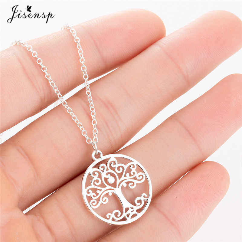 Jisensp Flower Of Life Mandala Pendant Sacred Geometry Stainless Steel Spiritual Necklace Women Ancient Egyptian Jewelry collare