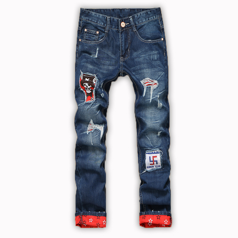 Fashion distressed Mens Biker Jeans Pants revers Slim Fit Pleated Motorcycle Denim Joggers Male Cargo Jean