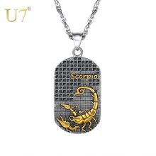 U7 для малышей с принтом «Скорпион» 12 созвездий ожерелье в
