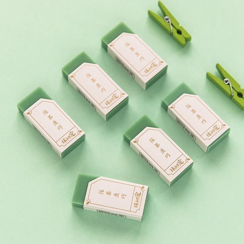 TUNACOCO 2pcs/set Cute Simple Matcha Chocolate Modelling Eraser Kawaii Erasers For Kids Stationery School Supplies Qt1710114