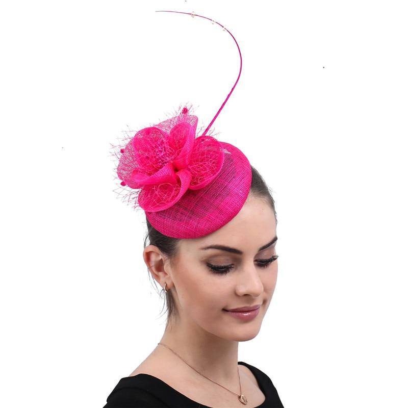 3ecdd917 Vintage hot pink derby kenducky fascinators hat elegant lady chapeau wedding  party church headpieces veil flower headwear fedora ~ Hot Sale July 2019