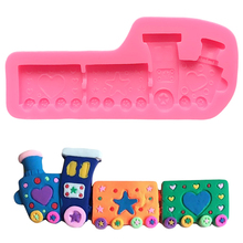 цена на 3d Train Chocolate Silicone Mould For Cookie  Cake Decorating Tool Silicone Cake Mold Forms For Baking Cakes Fondant Baking Cake