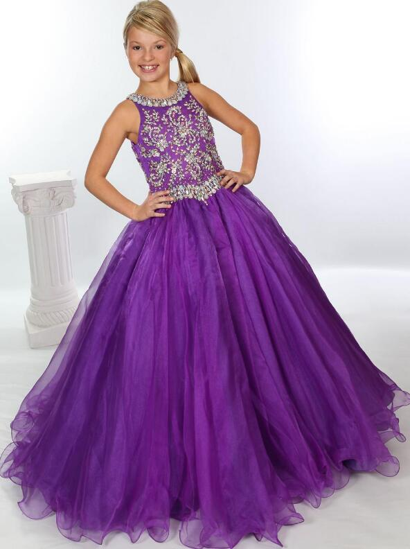 Shinning Jeweled Bodice Unique Fashion Girls Pageant Gown Halter Organza Ball Gown Little Girls Pageant Gown contrast halter and binding layered ruffle bodice jumpsuit