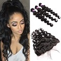 13x4 Lace Frontal Closure With Bundles Malaysian Loose Wave With Closure 4Pcs Lace Frontal With Bundles Hair Weft With Closure