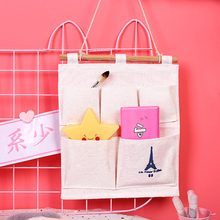 Cotton And Linen Tower Hanging Bag 5 Pocket Storage Wall-Mounted Cloth Debris