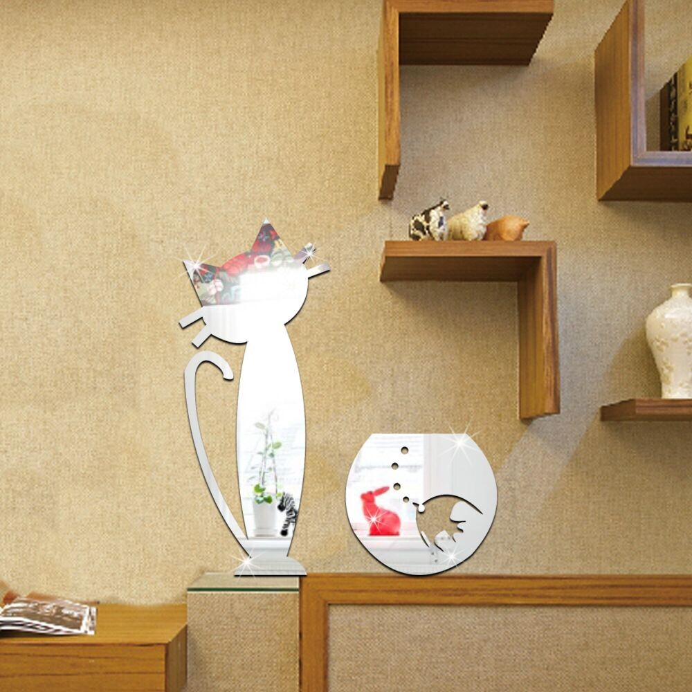 DIY Mirror Wall Sticker Removable Cartoon cat and fish Acrylic ...