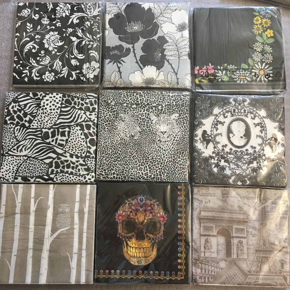 20 Vintage Napkin Paper Tissue Decoupage Black White Gray Flower Angel Skull Birthday Wedding Party Home Decor Cute Servilletas