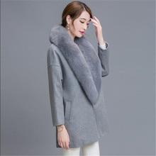 2016 New Autumn Winter Fashion Women Coat Cashmere Black Long Wool Coat With Big Fur Collar Female Warm Overcoat Plus Size G2773