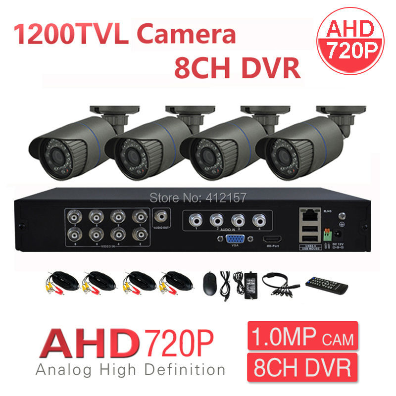 Home 1200TVL AHD 8CH HD CCTV Security Camera System 4pcs 960H 720P 1.0MP Surveillance Camera HDMI 3IN1 Analog AHD IP DVR DIY Kit teate ahd 960h 8ch 900tvl cctv video surveillance system onvif nvr dvr recorder kit 8ch home security camera surveillance ck 159