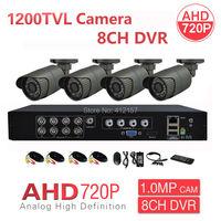 Home 1200TVL AHD 8CH HD CCTV Security Camera System 4pcs 960H 720P 1 0MP Surveillance Camera