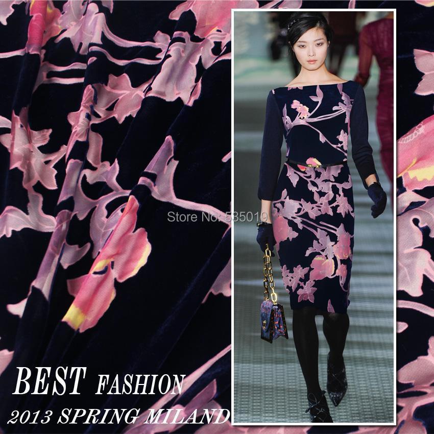 Telas Crazy Discount Black Blue/purple Flowers Flocking Fabric Silk Velvet Cotton Fabric For Party Dress/Cheongsam Velvet Fabric