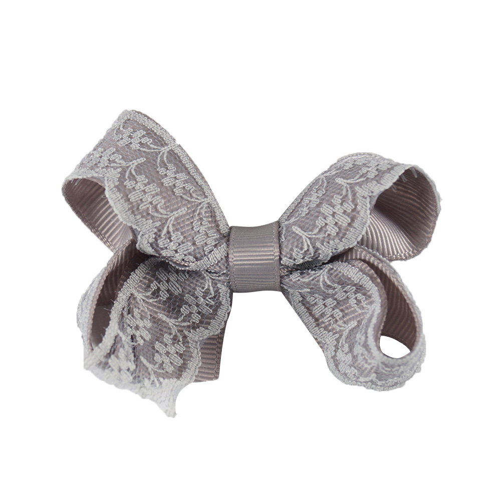 3'' Lovely Lace Hair Bows With Clips Handmade Solid Grosgrain Mini Hairbow For Little Kids Girls Hair Accessories 1 set new girls colorful carton hair clips small crabs hair claw clips mini hairpin kids hair ornaments claw clip