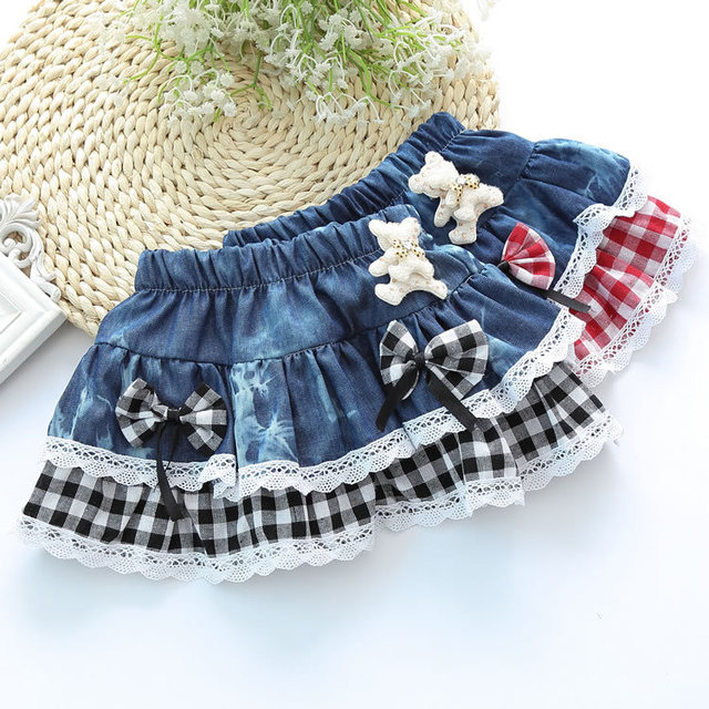 2017 new College Wind classic plaid skirts girls lace double bow cartoon child denim skirts AX06
