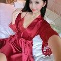 2016 Primavera Verão Outono Mulheres Camisola De Seda 2 pcs Conjunto de Robe & Camisola Senhora Sexy Vestido De Pijama Twinset Feminino de Sleepwear