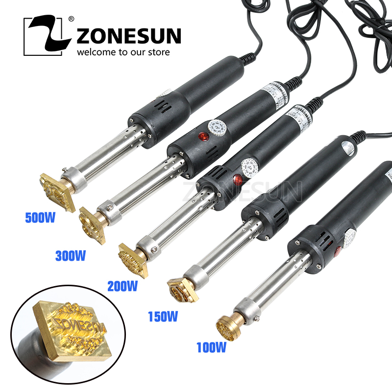 ZONESUN Handheld Soldering Iron Wood Leather Cake Leather Embossing Stamping Machine Temperature adjustbale Tool Free Shipping