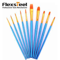 10 Pieces Paint Brushes Set Nylon Hair Artists Paintbrush Set for Oil Watercolor Acrylic Painting