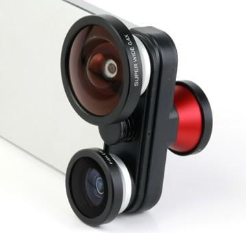 imágenes para 1 unids envío gratis teléfono móvil 4 en 1 doble pez ojo de pez Len + Macro + súper 0.4x lente gran para el iphone 5 5S 5gs
