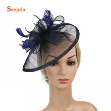 Feathers Fascinators Linen Hats for Women Ivory Bridal Wedding Hat with Headband 2019 New Fashion Headpiece chapeau mariage H03