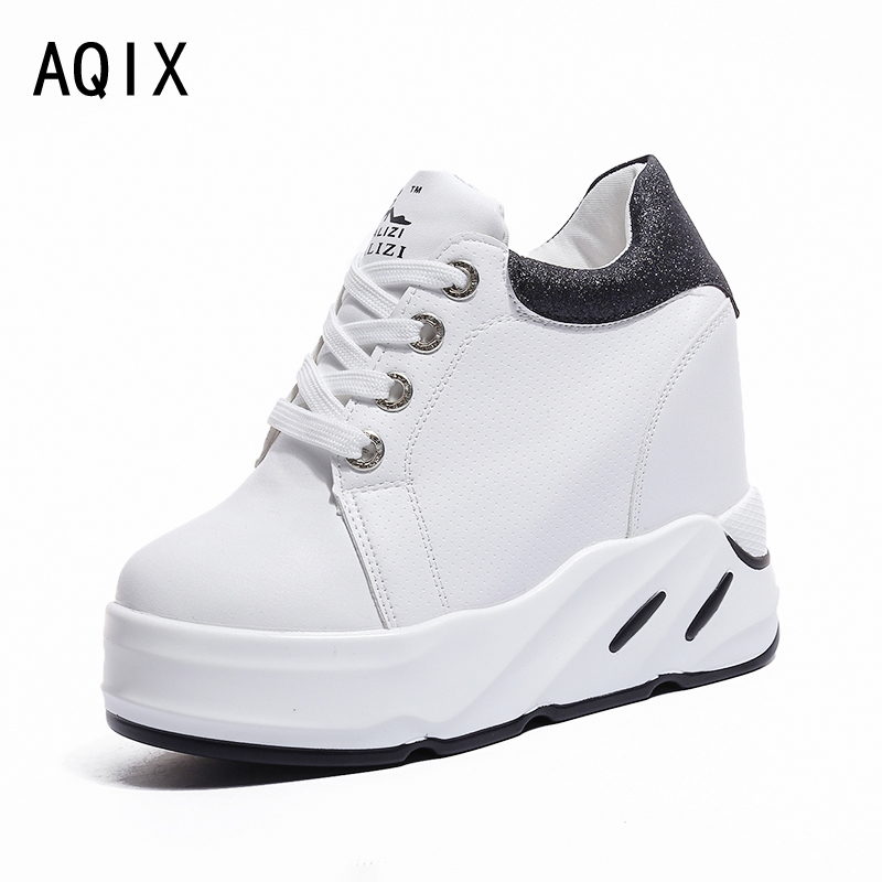 Spring Autumn fashion Increase in height shoes with lace-up casual sweet sneakers shallow women shoes Black Green Pink 35-39