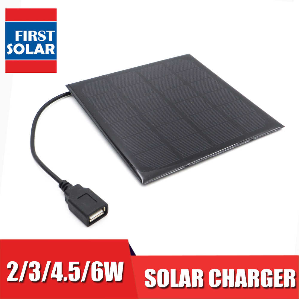 6VDC 2 3 4.5 6 W Watt Solar Panel Charger Bluetooth speaker Powebank Digital camera 5V USB output Solar Panel 6V
