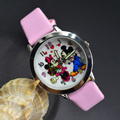 Cartoon Beautiful girl Minnie mouse style Color number dial children students girl's leather quartz watch 04