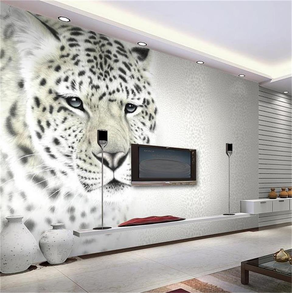custom 3d photo wallpaper mural living room 3d tiger leopard black white painting sofa TV background wall non-woven wall sticker 3d wallpaper custom mural non woven wall sticker black and white wood road snow tv setting wall painting photo wallpaper for 3d
