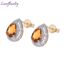 Vintage Solid 14k Yellow Gold 2.71Ct Natural Diamond Pear Cut Citrine Earrings caimao 8 81ct natural cushion cut citrine or amethyst 14k yellow gold drop earrings for women